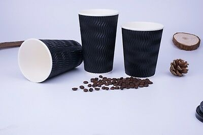 500pcs 12oz(350ml)  Black Triple Ripple wall paper Coffee Cups, disposable cups