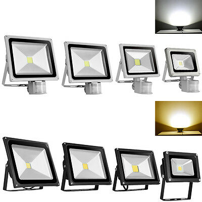 10/50W PIR Sensor Motion LED Floodlight Warm Cool Outdoor Flood Light IP65