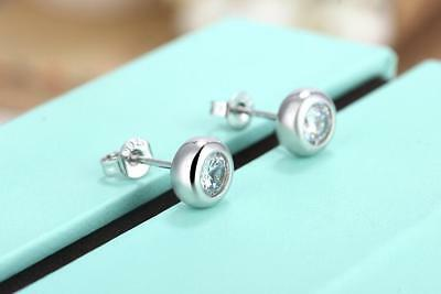 Shiny 925 Sterling Silver PLT Small Cute Button Bead CZ Rub Over Stud Earrings