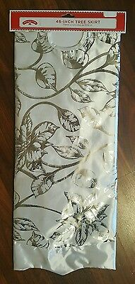 """Holiday Time 48"""" Christmas Tree Skirt White Silver Foil Poinsettia Floral NEW"""