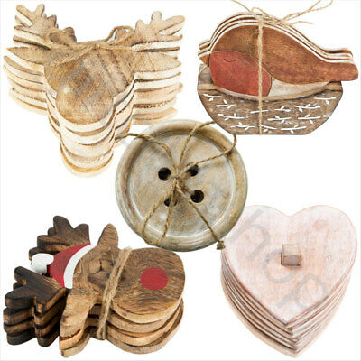 Set of 4/6 Shabby Chic Wooden Coasters Vintage Rustic Natural Drinks Coaster Set