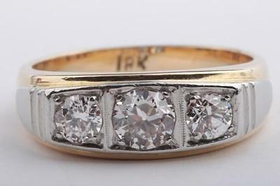 Brillant Diamant Ring 1ct antik 750 18k Bicolor Gold mit Brillianten Altschliff