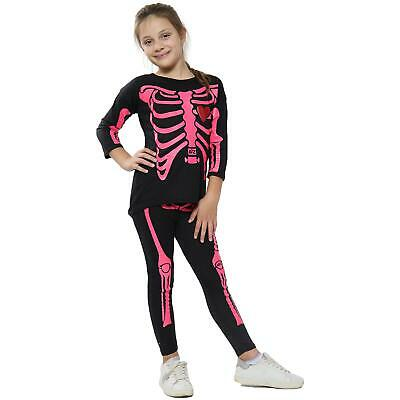 Girls Tops Kids Skeleton Print T Shirt Top & Legging Set Halloween Costume 5-13