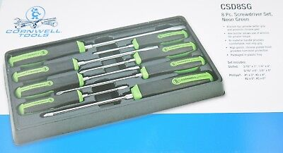Cornwell Tools 8pc Screwdriver set in Neon green and Black