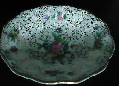 Vintage MIDWINTER  MINI PLATE Gilded Rose Pattern Pin/Soap Dish