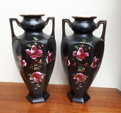 Pair of Beswick Ware Black Twin Hnadle Urn Vases - Pink Roses WYE Shape