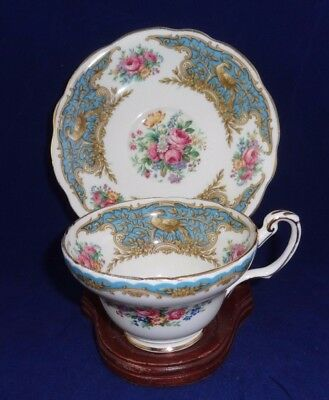 Vintage Bone China  Tea Cup and Bread Plate Foley Montrose Blue EB 1830 England