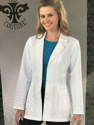 Med Couture 8619 Women's Lab Coat White Size 6 Pockets Button Up