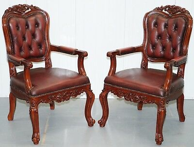 Pair Of Chesterfield Vintage French Louis Oxblood Over Sized Carved Armchairs