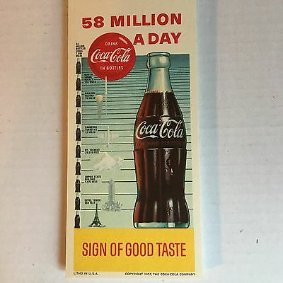 "1957 Advertising Premium~Coca-Cola Blotter~""58 Million A Day Sold"""