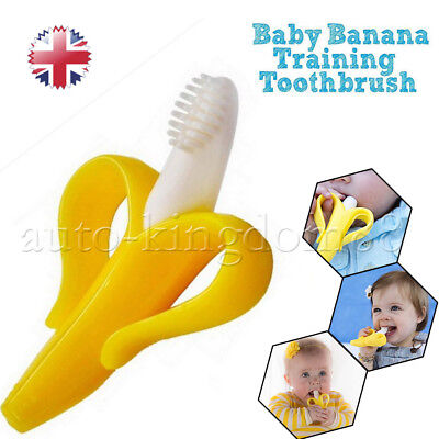 For babys Silicone Bendable Banana Teether ring Training Toothbrush UK