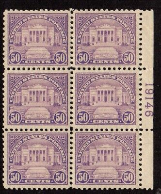 US Stamps: 570 Plate Block 6 Mint, o,g., Never Hinged (cv$750.00)