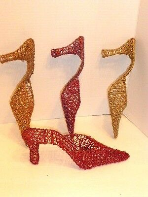 4 Glittering, Colorful  Lightweight Wire High Heel Shoe Ornaments / Displays