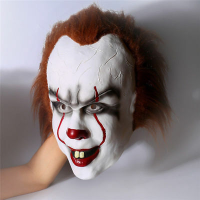 It Pennywise Clown Deluxe Mask Halloween Stephen King Latex Cosplay Costume