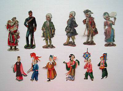 12 x Assorted Victorian Scraps - People Oriental Chinese Father Christmas Army