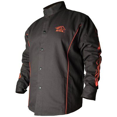 black stallion bsx? fr welding jacket - black w/red flames - medium