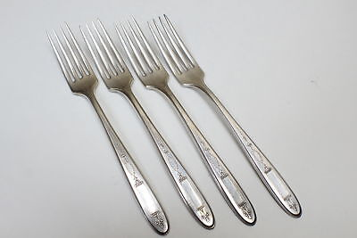 4 Oneida Community Plate 1921 Grosvenor Silverplate Flatware Dinner Forks