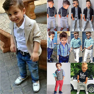 2pcs Toddler Baby Boys Kids Shirt Tops Pants Clothes Outfits Gentleman Suit Set