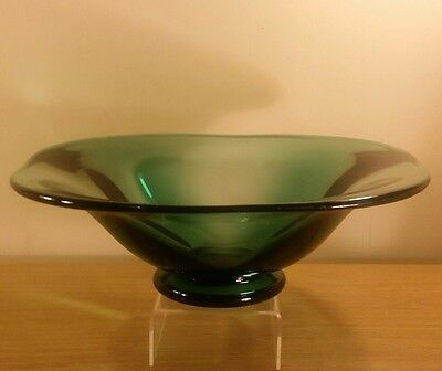 "Orrefors Green Glass 12"" Centrepiece Bowl signed Simon Gate 1930"