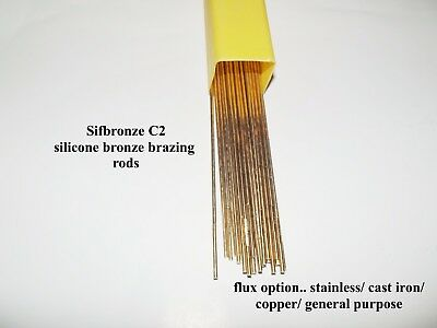 C2 Sifbronze Silicon Bronze Brazing Rods 1.6MM & FLUX cast iron brass steel