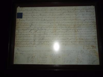 1803 rare Quaker MARRIAGE CERTIFICATE Dougill & Bilton families Yorkshire framed