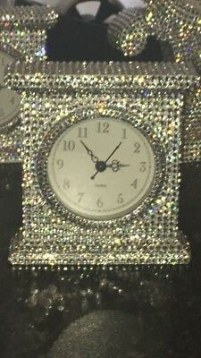 Bling Mr And Mrs Style Silver Shabby Chic Diamante Crystal Carriage Clock