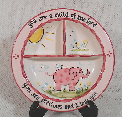 "GOODNESS GRACIOUS 8 1/2"" Divided Child's Plate / Bowl by YOUNG'S INC. w Elephant"