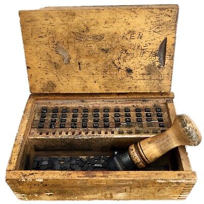 Vintage Gpo Post Office Royal Mail Shop Hand Date Stamper Set Original Wood Case