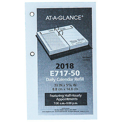 "2018 At-A-Glance E717-50 Daily Calendar Refill 3-1/2x5-27/32"", Base Not Included"