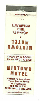 Matchbook Cover Midtown Motel Hotel Motor Inn Terre Haute Indiana