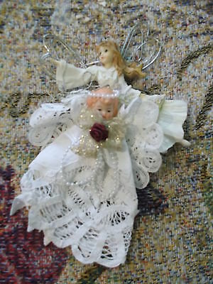 "ceramic & battenburg lace  6"".Christmas Angel Ornament with bonus resin angel"