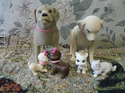 Collection of 6 dogs & cats for Mattel dolls etc. dogs are bobble head