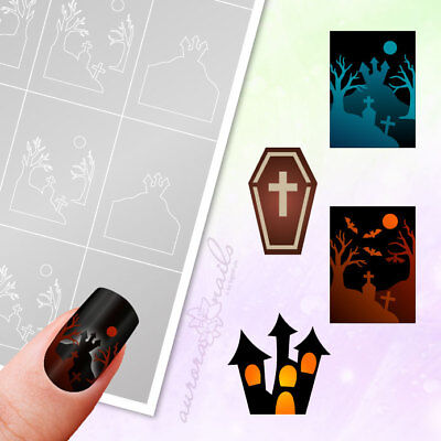 Airbrush + Nailart Stencils Set 20 HALLOWEEN HORROR CASTLE BAT ADHESIVE