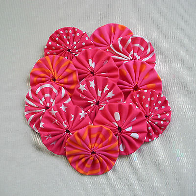 12 x 45mm Hot Pink Fabric Yoyos - Quilting Applique Scrapbooking Embellishment