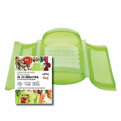 Lekue 3-4 Person Steam Case With Draining Tray & Bonus 10 Minute Cookbook -Green