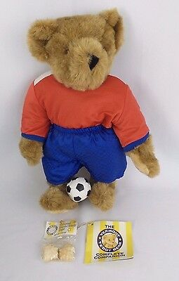 """Vermont Teddy Bear Soft Bear 15"""" Brown Soccer Player Plush Made in the USA"""