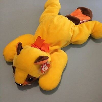 14e664ac78d Vintage TY pillow pal Raccoon named Rusty 1998 RARE YELLOW w TAG PROTECTOR