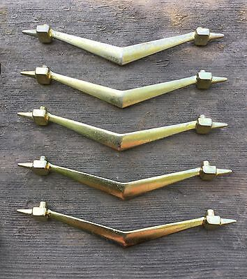 Set Of 5 Vintage Brass Chevron Drawer Pulls Cabinet Door Handles Atomic 6 1/2""
