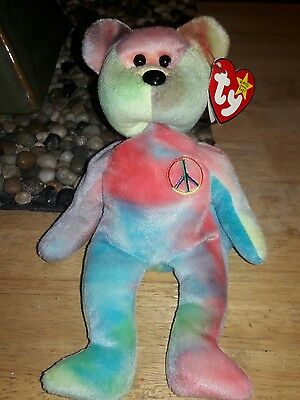 Ty Beanie Baby Peace Bear Born 2/1/1996 P.E. Pellets Retired Green Yellow Pink
