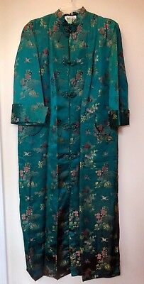 Vintage (1980's) Oriental Women's Teal Silk Robe-Lined-Heavy-XL *FREE SHIPPING*