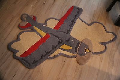 Pottery Barn Boy Child Nursery Rug Kid Airplane Plane Baby Wool Carpet Sky