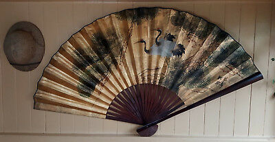 Large Oriental / Chinese Fan - 1.5m Wide, Wall Decor / Wall Hanging - Birds.