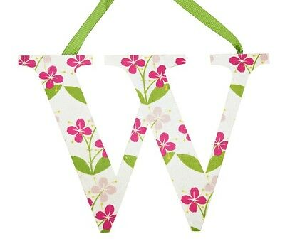 Pottery Barn Girls Letters Wall Hanging W Pink Hibiscus Flower Kids Spring New