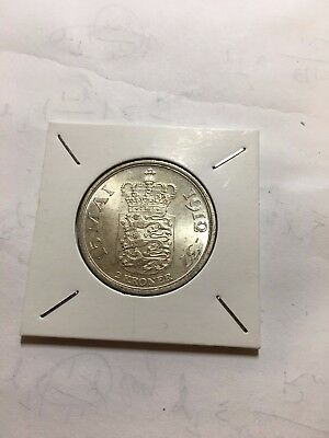 Denmark 1937 25 Years of Reign 2 Kroner Silver Coin Uncirculated