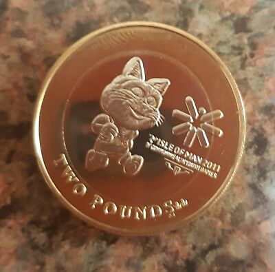 isle of man iom toshi cat youth games £2 coin 2 two pounds uncirculated unc