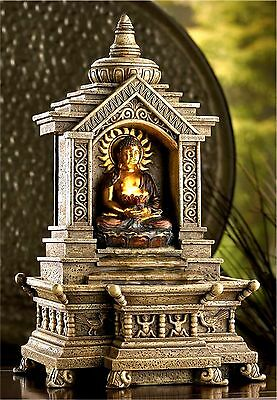 Golden Buddha Temple Faux Stone Table Water Fountain W/ Cascading Water ** Nib