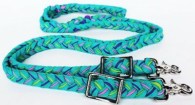 Barrel Racing Rein. Sporting reins. Western. Turquoise, pink, purple and lime