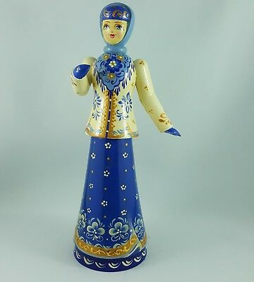 Vintage Linden Wood Russian Figurine /doll In Winter Attire Hand Painted/ Russia
