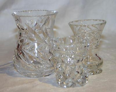 3 x Small Cut Glass / Crystal Vases