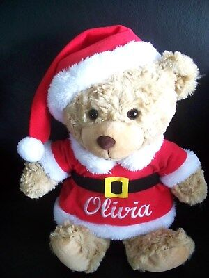 Personalised Christmas Teddy Bear ANY NAME 31cm CUTE  XMAS GIFT Embroidered